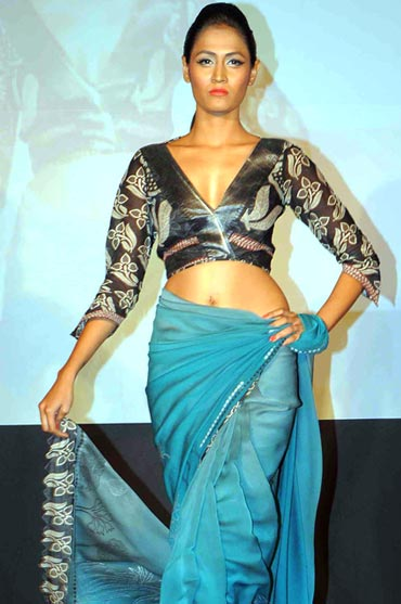 A model shows off a creation by designer Anu M