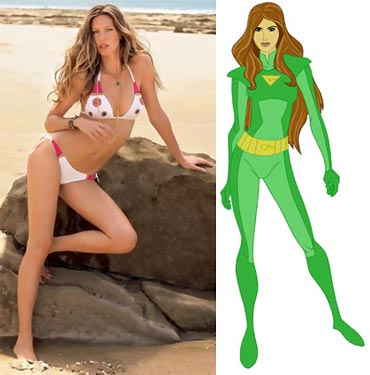 Gisele Bundchen and her AOL Kids cartoon character