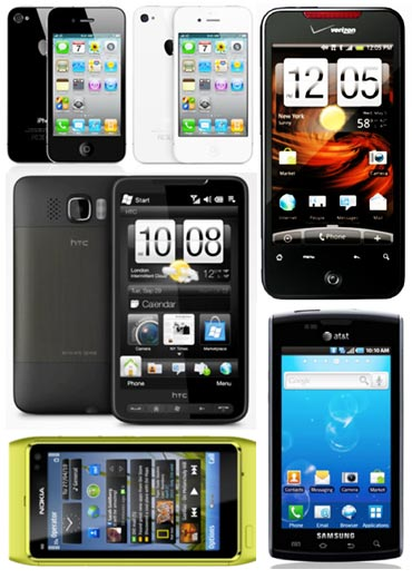 A collage of best smartphones of 2010
