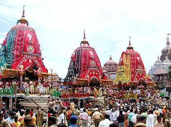 Chariots of Lord Jagannath, Lord Balabhadra and Devi Subhadra ready for Rath Yatra in Puri.