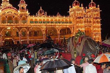 The Mysore Dussehra is held in the Mysore Palace Grounds.