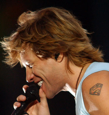 Rocker Jon Bon Jovi certainly identifies with Superman -- check out the tattoo