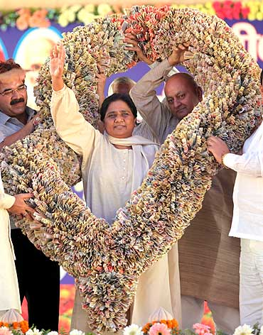 Uttar Pradesh Chief Minister Mayawati with a garland of currency notes