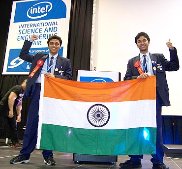 Anish Mukherjee (L) and Debarghya Sarkar at the International Science and Engineering Fair