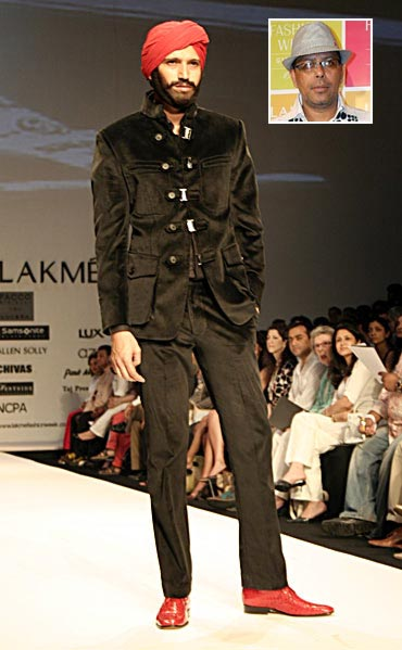 Suit by Narendra Kumar (inset), April 2008