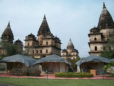 Swiss tents with chattris at the Orchha Resort