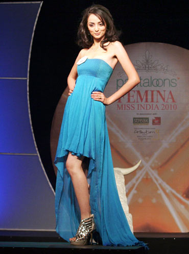 Anshu Malik models a pretty aqua blue gown