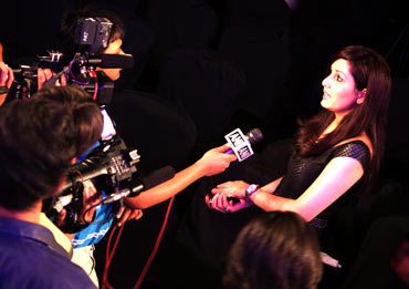 Pooja Chopra takes questions from the media