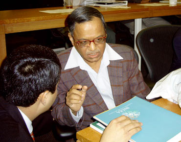Infosys' N Narayana Murthy at one of Kellogg's conference