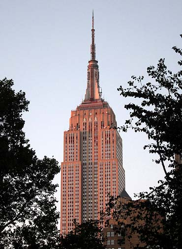 The Empire State Building is pictured at sunset in New York
