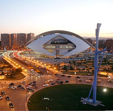 Valencia's City of Arts and Sciences is seen at sunset in Spain.