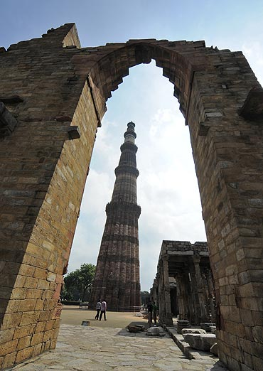 A view of the historic Qutub Minar.