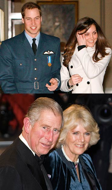 (Top) Prince William and Kate Middleton, (below) Prince Charles and Camilla, Duchess of Cornwall