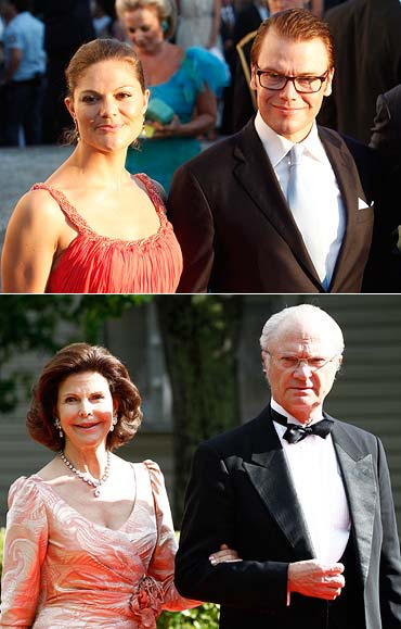 (Top) Victoria, Crown Princess of Sweden and Prince Daniel, Duke of Vastergotland, (below) King Carl XVI Gustaf of Sweden and Queen Silvia