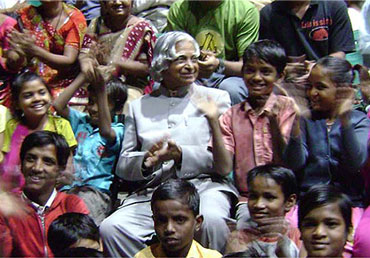 Former President of India Dr APJ Abdul Kalam with a group of students