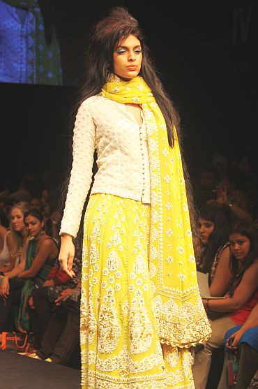 Krishna Mehta's festive offerings at LFW boasted of the hottest colour palette