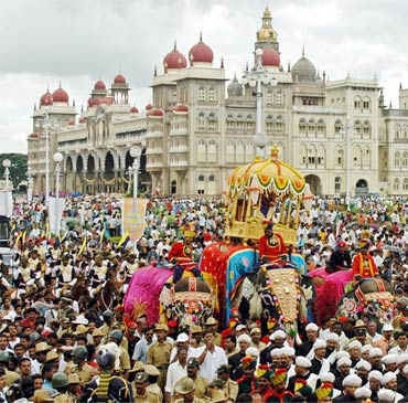 People attend the annual Dussehra celebration in Mysore, about 148 km (92 miles) south of the southern Indian city of Bangalore. The festival of Dussehra is celebrated to mark the victory of good over evil.