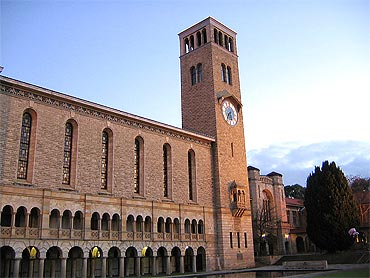 Winthrop Hall at sunset, University of Western Australia, Crawley, Western Australia.