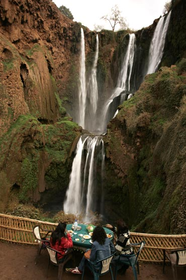 Morocco's most famous waterfall, Cascades D'Ouzoud, near Marrakesh are 100 metres (328 feet) high and are visited by thousands of tourists every year.