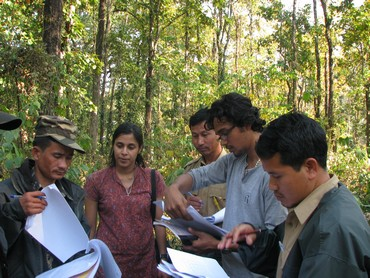 Nandini trains watchers and guards during a tiger sign survey