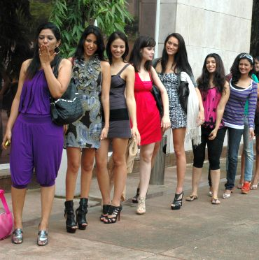 Contestants line up outside the audition venue awaiting their turn