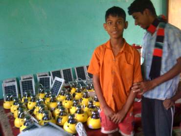 A solar lamp distribution centre in a tribal village in Jharkhand