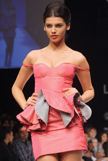 A model showcases Rajat Tangri's creation