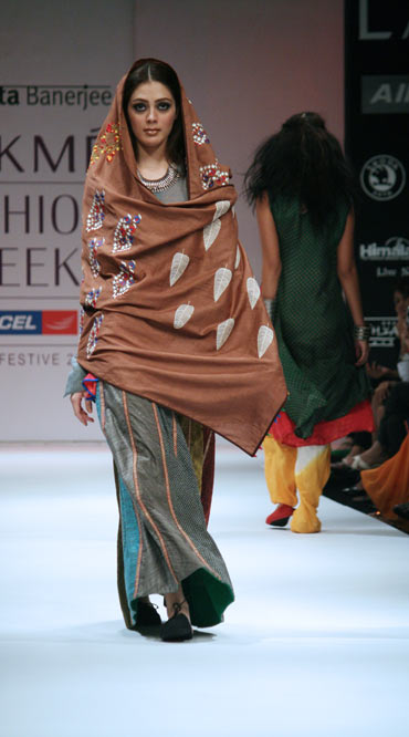 A model showcases Paromita's creation
