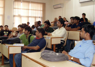 Stuents attend a lecture at IIM Rohtak