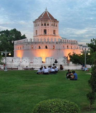 Santichaiprakarn Park at Phra Sumen Fort, Bangkok.