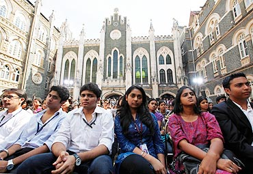 Indian students listen to US President Barack Obama during a town hall meeting in Mumbai