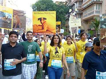WSD volunteers at the Mumbai Marathon