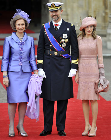 Spain's Queen Sofia, Crown Prince Felipe and Princess Letizia