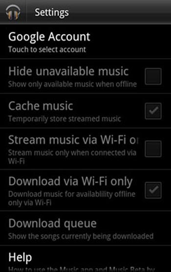 Google Music for Android smartphone