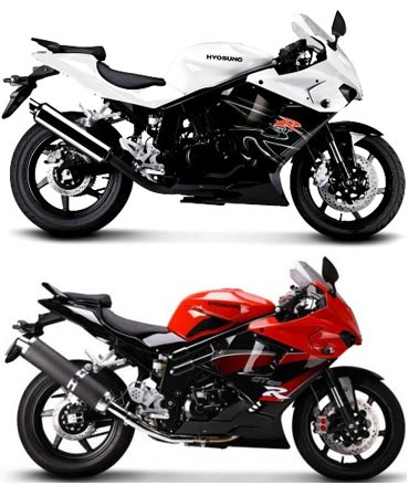 A collage of Hyosung GT 650 and GT250R