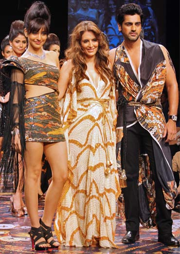 Pria Kataaria Puri with her showstoppers, Neha Sharma and Arjan Bajwa