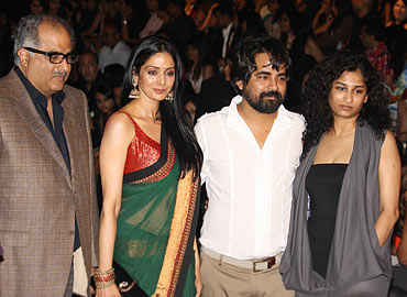 Boney Kapoor, Sridevi, Sabyasachi and an unidentified guest