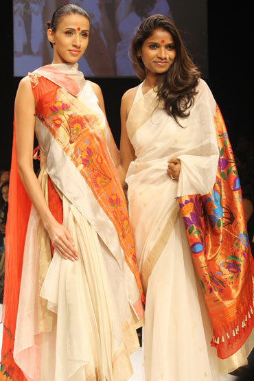 Vaishali (right) with model Alesia Raut at Lakme Fashion Week