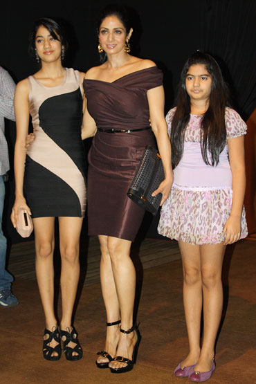 Sridevi with daughters Jhanvi (left) and Khushi