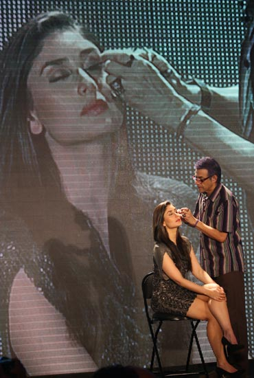 Makeup expert Cory Walia works on Kareena Kapoor to promote the new Lakme range