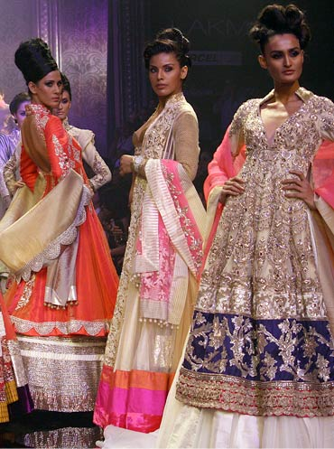(L-R) Kavita Kharayat, Deepti Gujral and Rachel Bayros for Manish Malhotra
