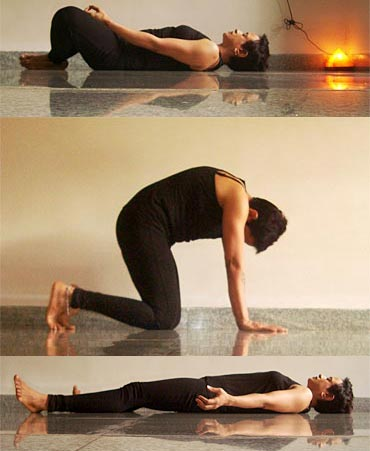 A collage fo yogic poses for pain relief