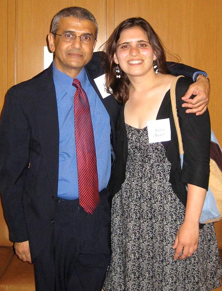 Aysha Bagchi with her father (left)