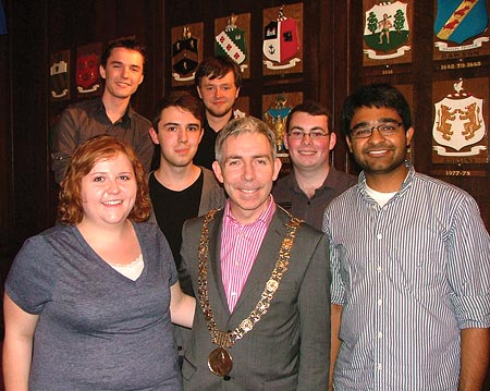 Mohit Agrawal (right) with Dublin, Ireland's Lord Mayor Andrew Montague (center)