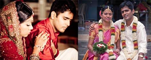 Daniella Sankar Kathiresh and her groom Kathiresh