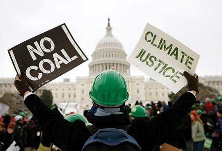 Demonstrators for clean energy hold a rally on Capitol Hill, March 2, 2009