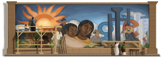 Google doodles for Mexican painter Diego Rivera