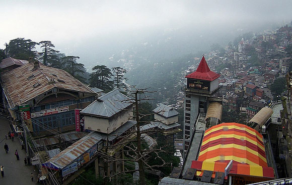 Mall Road Shimla, From a hotel window on the Mall Road, Shimla in Himachal Pradesh