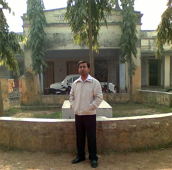 Yateen Kumar Suman outside his office in Darbhanga, Bihar