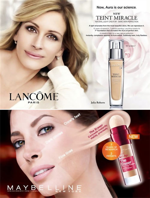 Julia Roberts for Lancome and Christy Turlington for Maybelline